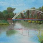 Kanalarbeiten 3 (Haveleck bei Pinnow) (Öl/Leinwand, 30 x 40 cm)