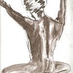 aufrecht (Pastellkreide, Papier; 42 x 30 cm)