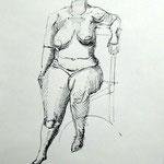 weiblicher Akt (Tusche, Papier; 42 x 30 cm)