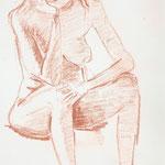 nachdenklich (Rötelstift, Papier; 42 x 30 cm)