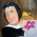 Mutter mit Kind, gelbe Gießkanne, Decke (Acryl/Leinwand, 60 x 50 cm)