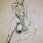 weiblicher Akt (Kohle, Papier; 52 x 40 cm)