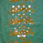 """""""Richard"""" (König Löwenherz) (Linoldruck auf Strohseide, Spielkarte; Acryl/Öl/Fineliner, 50 x 35 cm)"""