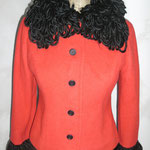 Jackett aus Wolle, rötlich mit Strickkragen & -bündchen, Größe 38 / 40, Artikelnummer 116