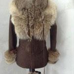 Lederjacke, kurz, mit Wolfsfell, Größe 36 / 38, Artikelnummer 114