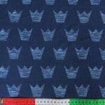 Jersey Retro-Crowns jeansblau auf dunkelblau
