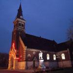 l'église, la nuit en hiver