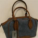 Bowling Bag, Kunstleder, Farbe: jeansblau/ cognac, 79,99€, Schuhmoden