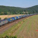 18 Juli 2014 : Harrbach / 185 407 TXL met LKW Waltertrein richting Wurzburg.