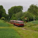 2 Juni 2015: Wijlre / ZLSM Railbussen onderweg naar Simpelveld naar het afzetten van de Pilot in Schin op Geul.
