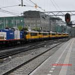 9 Juli 2014: Eindhoven / 203-3 VR + NS 1707 + 1728 + 1715 + 1717 + 1705 + 1711 onderweg naar de werkplaats in Maastricht.