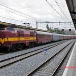 9 Mei 2014: Den Bosch / 1254 EETC Met ledig mat van de autoslaaptrein bij aankomst in Den Bosch