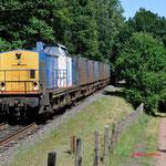 17 Augustus 2012: Eygelshoven / 203-1 Locon-Vr met beladen huisvuiltrein (50094) naar wijster via maatricht.