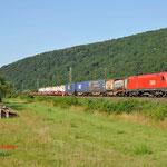 17 Juli 2014 : Wernfeld / 1116 254 OBB Met containerhupac trein richting Gemunden am Main.