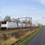 21 Januari 2018: Heukelom / 186 423 RTB Met een containertrein richting Kijfhoek