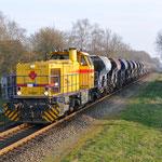8 Maart 2014: Cuijk / 303007 Strukton Met een Sleep Fccpps en Strukton cms-5 opweg naar Amersfoort.