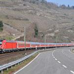 18 Maart 2016: Oberwessel / 147 002 Met een testtrein richting Mainz