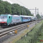 18 Juni 2016: Eindhoven / 186 217 NMBS met het Panorama Rail Restaurant vanuit Koblenz Hbf onderweg naar de Watergraafsmeer.