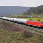 16 Maart 2016: Harrbach / 145 CL 013 RC met een keteltrein richting Wurzburg