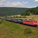 17 Juli 2014 : Harrbach / 151 167 DBS Met LKW Walter trein richting Wurzburg.