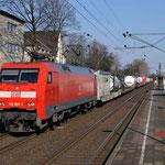 27 februari 2016: Rheinhausen ost / 152 007 Met een Hupac trein richting Rheinhausen