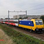 15 Oktober 2014: Tilburg reeshof / 186 007 NS Met testtrein naar tilburg goederen.