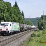 21 Juni 2017: Oberwinter / 185 389 Met een Keteltrein onderweg richting Koblenz
