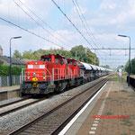 11 September 2014: Susteren / DBS 6414,6416 met kalktrein naar Sittard.