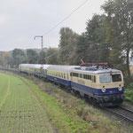 5 November 2016: Kaldenkirchen / 1042 520 met 4 rijtuigen onderweg als leeg mat naar Kaldenkirchen.