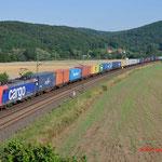 18 Juli 2014 : Harrbach / 482 021 SBB met containertrein richting Wurzburg.