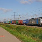 11 Augustus 2014: Angeren / 186 107 RTB met volbeladen Stuttgart-shuttle (41746) onderweg richting Emmerich