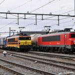 20 Februari 2014: Sittard / Links de RRF 4401 met daarachter de RRF 1107 en de Dolime trein naar Veendam rechts staat de DBS 1602 met een Unitcargo naar Kijfhoek.