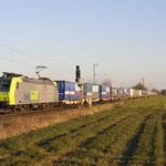 23 Februari 2018: Breyell / 485 017 BLS met een beladen CargoBeamer uit Domodossola naar Kaldenkirchen.