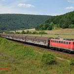 17 Juli 2014 : Harrbach / 139 287 BayBa Met henkeltrein richting Wurzburg.