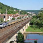17 Juli 2014 : Gemunden am Main / 185 510 Metrans met containertrein richting Fulda.