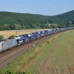 18 Juli 2014 : Harrbach / 185 622 RTB Met Volle autotrein richting Wurzburg.