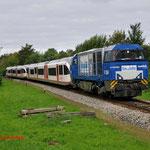 17 Augustus 2014: Landgraaf / RTB V204 met Veolia stellen 651 en 353 onderweg naar Aachen.