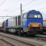 20 Februari 2014: Sittard / 1107 RRF Met Dolime trein uit Belgie staat te wachten op de 4401 om verder te rijden naar Veendam