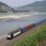 22 Juni 2017: Assmannshausen / 189 287 TXL Met een containertrein van de Waalhaven naar Munchen (41713).