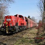 28 Februari 2015: Duisburg / 265 005 Met een kalktrein richting HKM.