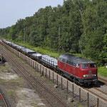 23 Augustus 2017: Duisburg Entenfang / V160 002 Brohltalbahn met aluminiumtrein uit Spellen naar Koblenz.