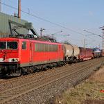 27 februari 2016: Bottrop-Welheim / 155 107 Met een Unit-cargo richting Oberhausen