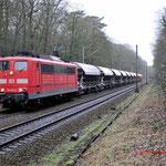 9 Februari 2015: Venlo / 151 045 DB met volle kalktrein richting Duisburg.