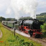 23 Augustus 2014:Eys / VSM 23 076 met een trein onderweg naar Simpelveld.