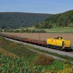 12 Oktober 2015: Harrbach / 1293 510 KGH met een sleepje goederenwagens richting Wurzburg