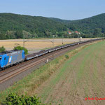 18 Juli 2014 : Harrbach / 185 529 LTE Met lege autowagens richting Wurzburg.
