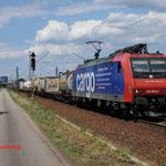 16 Juli 2014: Wiesental / 482 009 SBB Met containertrein richting Karlsruhe