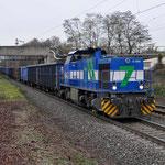 Bottrop Welheim: 1275 018-0 NIAG met een sleep Eanos'n richting Gelsenkirchen