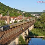 16 Juli 2014: Gemunden am Main / ES 64 U2-099 TXL met ARS Altmann trein richting Fulda