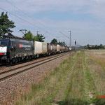 16 Juli 2014: Wiesental / 189 112 SBB met containertrein richting Karlsruhe